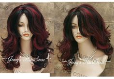 Dark Hair with Chunky Highlights | Black hair with chunky red highlights in long wavy hair. ... | beauty