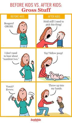 Before kids vs. after kids: gross stuff. (Created for Babble by Hedger Humor)