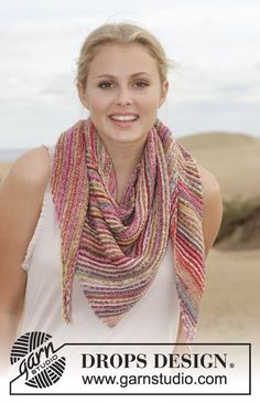 Arabian Nights / DROPS 154-18 - Knitted DROPS shawl in garter st with stripes in Fabel.