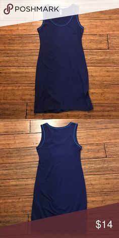 "Crewneck Blue Bodycon Dress Xhilaration blue Bodycon dress with light blue piping around neck and arm openings. 95% cotton, 5% spandex. This has a good amount of stretch to it. Approx. 33"" long, 16"" armpit to armpit, 14"" across waist, and 16"" across hips. Xhilaration Dresses Mini"