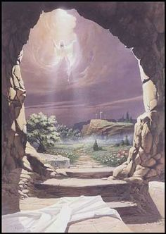 The empty tomb - The resurrection of jesus - Jesus death and resurrection Jesus Is Risen, He Is Risen, Risen Christ, Empty Tomb, Jesus Is Alive, Easter Messages, Jesus Resurrection, Jesus Pictures, Bible Pictures