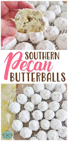 Southern Pecan Butterballs--Shortbread deliciousness in every single bite!  These are perfect for the holidays or anytime of year. #PecanButterballs #HolidayDessert