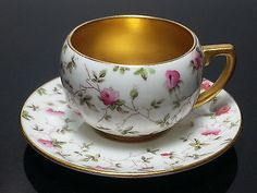 Coalport England Bone China Demitassi Cup & Saucer Rose & Gold Pattern in Pottery & Glass, Pottery & China, China & Dinnerware   eBay