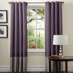 Amazon.com - Lush Decor Prima Curtain Panel Pair, 54-Inch by 84-Inch, Gray/Purple - Window Treatment Panels
