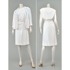 Vintage 80s Dress Suit - Sheath Dress and Jacket - Striped Pastel 2 Piece Dress Set - Two Piece Outfit - 1980s Dress -Off White Flax Linen Dress (L/XL) #vintage #clothing #fashion #style #women #womens #etsy #dresses #suits #sets #outfits