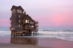 "destroyed-and-abandoned: "" The Last Inn on the Sea. Rodanthe, NC. . Source: seagirtlight (flickr) ethan_kahn: "" When the house was first built in the 1980s, there was over 400 feet of sand separating it from the Atlantic, with piles set in concrete..."