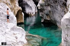 The white canyon of the Arzino river, in Friuli, Italy.
