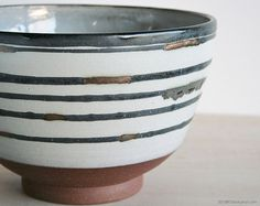 Pottery Serving Bowl white gold rustic modern handmade
