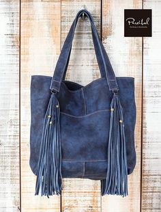 Distressed leather tote Leather shopper bag blue leather