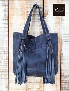 Distressed leather tote, Leather shopper bag, blue leather bag, Fringes leather bag, Large leather t Denim Tote Bags, Denim Handbags, Denim Purse, Clutch Bags, Leather Laptop Bag, Leather Wallet, Leather Totes, Laptop Bags, Leather Bags