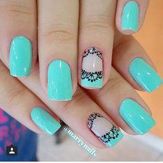 60 Spring Floral Nail Arts Design and Ideas Colors Trendy Nail Art, Stylish Nails, Hair And Nails, My Nails, Lace Nails, Nail Polish Art, French Tip Nails, Beautiful Nail Designs, Accent Nails