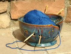 Blue and Rust Yarn Bowl Knitting Bowl  hand by muddywaterscc, $40.00