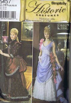 Victorian Costume Gown Sewing Pattern Simplicity Size 6 12 Bust 30 34 Hip 32 36 | eBay