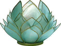 Turquoise Blue Full Bloom Capiz Lotus Candle Holder (gold edged) @Michelle Fares