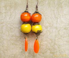 Aged wood Bead earring Orange Yellow earrings by chezviolette, €10.50