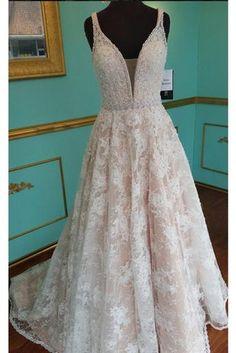 lace V-neck Prom Dress, A-line prom dress,beaded long pearl long prom dress,lace up prom dresses.BD170547