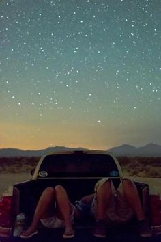 """Staring into the starry night sky on the hood of a car feeling like that world is waiting for you...!!"""