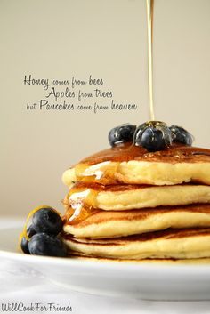 "Lemon Blueberry Ricotta Pancakes - ""Honey comes from bees, apples from trees, but pancakes come from heaven"""