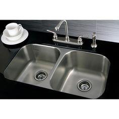Stainless Steel 31-inch Undermount Double-bowl 18-gauge Kitchen Sink - Overstock™ Shopping - Great Deals on Kitchen Sinks