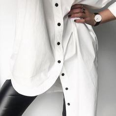 White shirt Black buttons