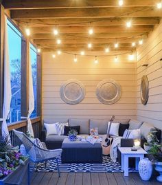 Twinkle lights on the back porch- cozy outdoor living decor de. Twinkle lights on the back porch- cozy outdoor living decor decoration modern Summer Porch Decor, Sweet Home, Decks And Porches, Front Porches, Front Porch Seating, Enclosed Porches, Front Porch Chairs, Deck Seating, Small Porches