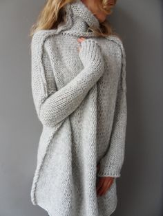 Oversized, Chunky knit woman sweater. Slouchy/Bulky/Loose knit sweater.Light grey sweater. by RoseUniqueStyle on Etsy https://www.etsy.com/listing/167944864/oversized-chunky-knit-woman-sweater