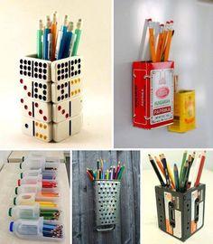 Creativos portalápices utilizando objetos en desuso