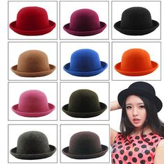 Women Lady Girl Fashion Vintage Wool Bowler Derby Hat Dinner Party Ball Cap  B82U  Fashion 9276cda2b31f