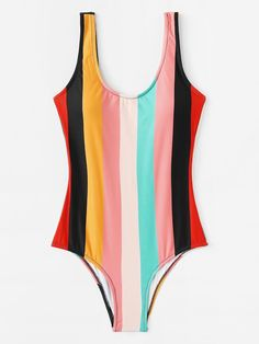 Low Back Colorful Striped One Piece Swimwear. Source by NextClo beachwear Vintage Swimsuits, Cute Swimsuits, Cute Bikinis, Summer Bathing Suits, Cute Bathing Suits, Striped One Piece, One Piece Swimwear, Swimwear Fashion, Mode Inspiration