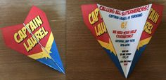 Custom Captain Marvel Theme Paper Airplane Invitation! Personalize Verbiage, Colors & More! Perfect for Birthdays, Announcements, Etc!