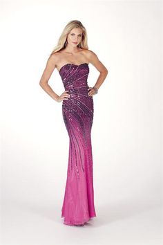 Look stunning and radiant in this glowing evening dress from Alyce Paris Prom 8898. The chic strapless design creates a beautiful, flattering silhouette with the form-fitting bodice and sweetheart neckline. The silk ombre chiffon fabric is embellished with glittering, ornate beadwork that will have you sparkle under the lights.   http://www.trendycollection.com/alyce-paris-prom-8898-item-12955&category_id=0&event=Evening&click=event