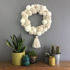 Handmade Cream Pom Pom Wreath Are you interested in our Cream pom pom wreath hanging decoration? With our Handmade cream pom pom wreath you need look no further. Valentines Bricolage, Valentines Diy, Christmas Wreaths, Christmas Crafts, Christmas Decorations, Pom Pom Decorations, Handmade Decorations, Xmas, Crafts To Sell
