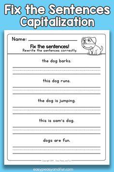 Fix the Sentences Capitalization Worksheets