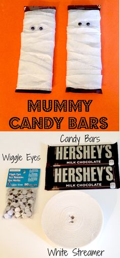 Really cute Mummy candy bars and so easy to do! Halloween Treats For Kids, Halloween Party Favors, Halloween Carnival, Holidays Halloween, Holiday Treats, Halloween Crafts, Holiday Recipes, Cheerleading Treats, Halloween Care Packages