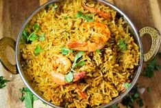 Looking for a no-fuss almost one-pot meal? This shrimp biryani is started in the stove but finished in a rice cooker. Perfect rice and flavors each time! Rice Cooker Recipes, Rice Recipes, Seafood Recipes, Prawn Biryani Recipes, Shrimp And Rice, Indian Kitchen, One Pot Meals, International Recipes, Dishes