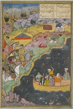 South Asian and Himalayan Art | The King's Favorite Courtesan is Abducted by Sea | ca. 1610 | Mushfiq, Mughal dynasty, Reign of Jahangir | Opaque watercolor, ink, gold and silver on paper | India