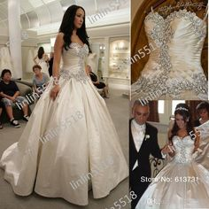 Wholesale Organza - Buy Classic/vintage Crystals And Beads With Fitted On The Sweetheart Floor Length Satin Wedding Dress Ball Bridal Gown 2...