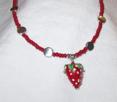 Strawberry Necklace Red Necklace by prettylittlepretties on Etsy, $16.00