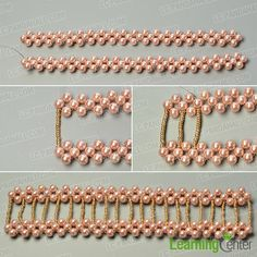 Finish the main pattern of the wide pearl bead bracelet