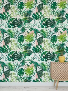 Tropical Leaves Summer Bohemian Jungle Mural Removable Self Adhesive Peel and Stick Wallpaper Old Wallpaper, Bathroom Wallpaper, Original Wallpaper, Self Adhesive Wallpaper, Peel And Stick Wallpaper, Home Room Design, High Humidity, Smooth Walls, Tropical Leaves