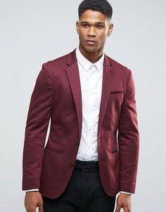 ASOS   ASOS Super Skinny Jersey Blazer with Fleck Detail in Burgundy