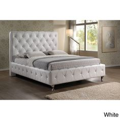 Stella Crystal Tufted White Modern Bed with Upholstered Headboard | Overstock.com Shopping - The Best Deals on Beds