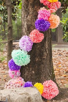 Pin for Later: Get Happy: 15 Stylish Ways to Decorate With Pom-Poms Love this one: wrap bright paper pom-poms around a tree for a special outdoor event. Photo by White Rabbit Studios via Style Me Pretty Outdoor Bridal Showers, Outdoor Parties, Picnic Parties, Rainbow Wedding, Get Happy, Grad Parties, Diy Wedding, Wedding Ideas, Trendy Wedding
