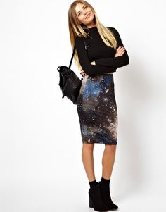 ASOS+Pencil+Skirt+In+Graphic+Galaxy+Print