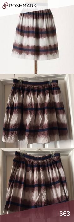 🍂Fall🍂Anthropologie Skirt Full midi skirt with cream & plum stripes and navy ribbon detail. Suits every season! Worn only once. Accepting offers! Anthropologie Skirts A-Line or Full
