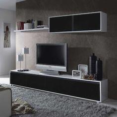 Mueble de comedor moderno salon completo, Blanco y Negro Brillo  | eBay