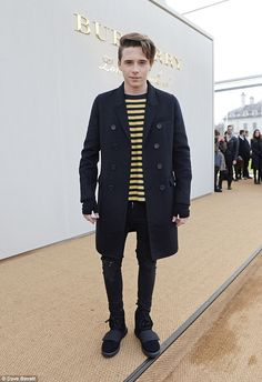 Brooklyn Beckham at the Burberry show in London. via MailOnline