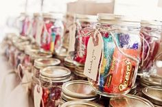 "Stuffed mason jar favors... I want to give my guests something they'll actually like instead of dumb pack of matches with some stupid saying on them like ""the perfect match"""