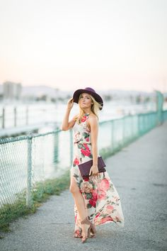 fedora hat with floral dress