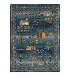 Our Grafton Folk Art EnduraStran Rug brings classic American style and unbeatable durability to your home. The rug's unique design is a new take on the timeless Shaker village scene with salt block houses, church and barn along with the people and animals who live there. This rug is the perfect backdrop for farmhouse, traditional or transitional decor.